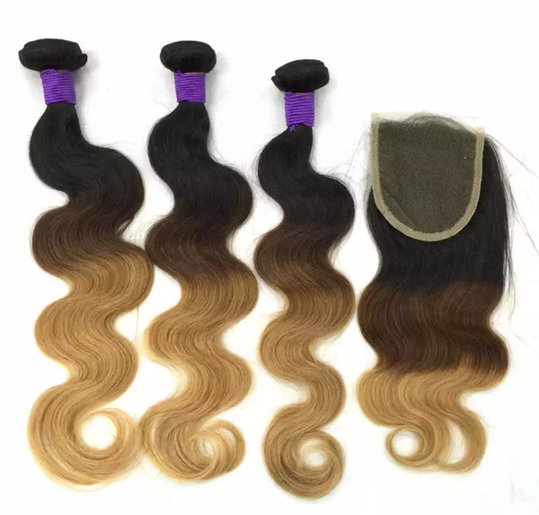 Brazilian Body Wave Human Remy Hair Weaves 3/4 Bundles with Closure Ombre 1b/4/27 Color Double Wefts Hair Extensions