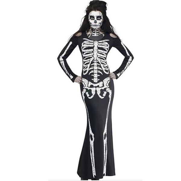 Nuove donne vestiti donne fantasia lunga scheletro vestito costume cosplay cranio stampa manica completa costume di halloween vesti vestido partito club wear