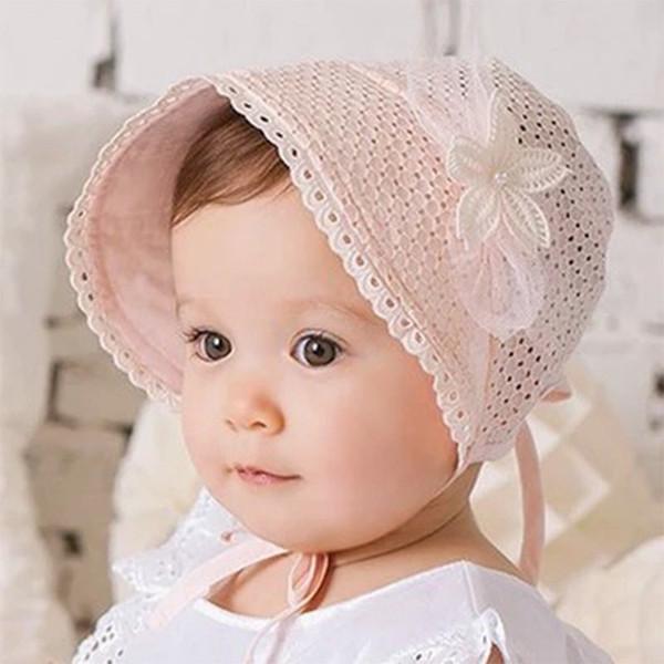 Spring Cap Summer Sweet Princess Hollow Baby Girls Hat Lace-up Beanie Cotton Bonnet Enfant Kids Flower Beanie Lace Floral Cap free shipping