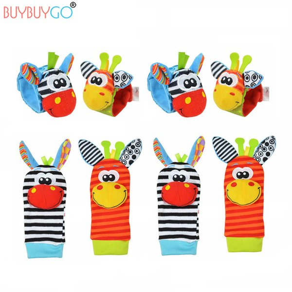 8pcs Novelty Unisex New Fashion Cute Baby Socks Animal Cartoon Hand Wrist Bells Christmas Cotton Boys Girls Infant Rattles Sock