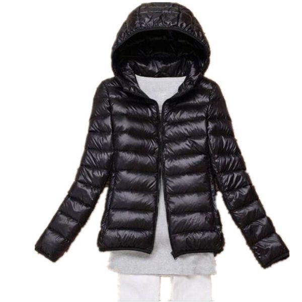 Großhandel 2019 OMLESA 2017 Neue Herbst Winter Frauen Daunenjacke Ultra Licht Schnee Mantel Mit Kapuze Weiße Ente Daunenjacken Dünne Feder Jacke YQ142