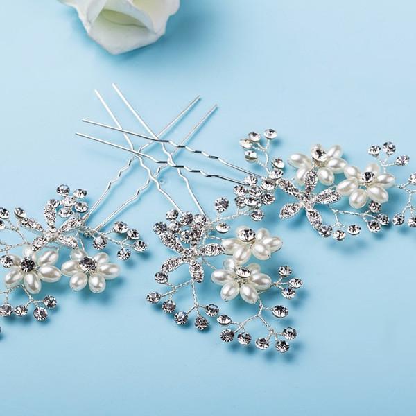 Серебряный горный хрусталь женщин головной убор жемчуг свадебные заколки цветок свадебный заколки для волос Birdesmaid аксессуары