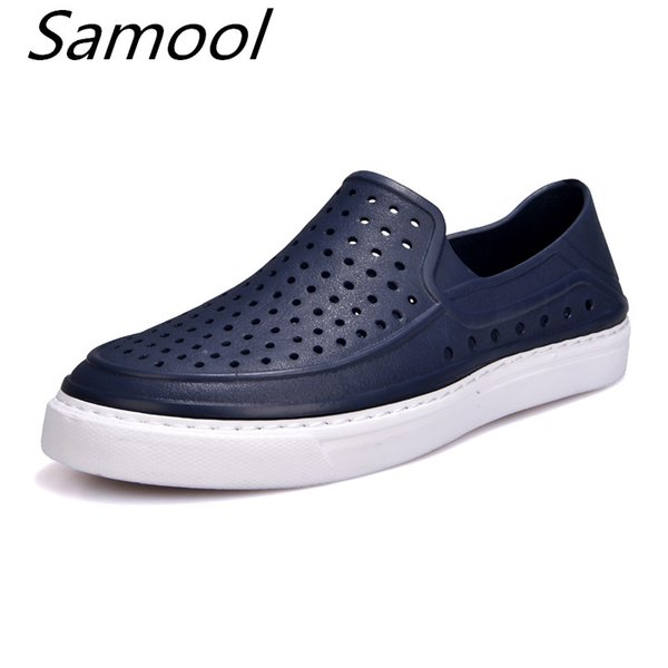 Casual Native summer man sandals Hollow Outdoor Jelly Garden Breathable hole cutout Slip On male cool Flat solid Shoes men xxz5