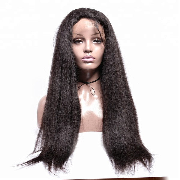 Pretty discount aaaaa 100% unprocessed remy virgin human hair long natural color yaki straight full lace cap wig for lady