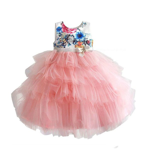 2018 Childrens Flower Tutu Princess Dresses Kids Party Girl Black Lace Dress Baby Girls Bow Dress Toddler Wedding Dress For 2-7T Beach