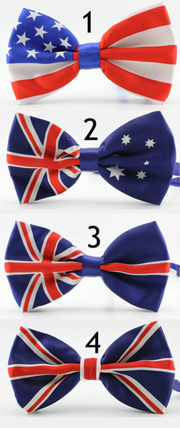 top popular Novelty Polyester Bowtie Noeud Papillon Men Women Bow Tie Colorful Self Tie Neckwear USA UK Flag Bow Ties 2020