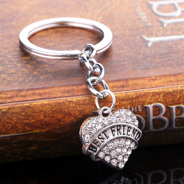 12pc/lot crystal love heart keychain friend keyring women men gifts bff friendship forever key chains rings car bags keyfob, Silver