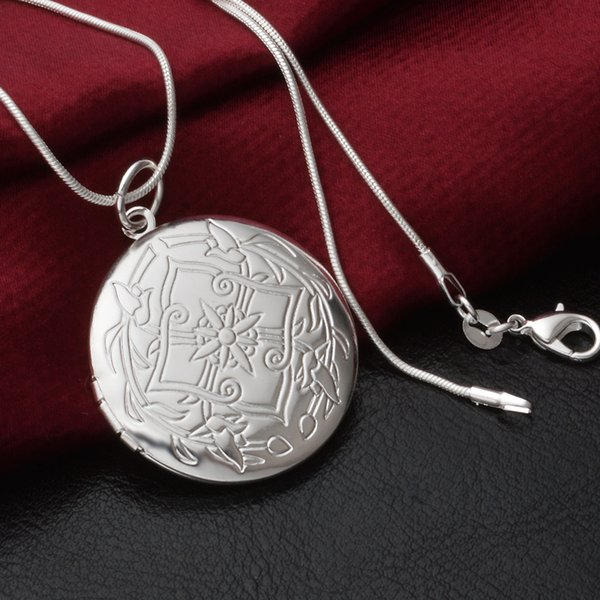 Locket Rose Flower Jewelry Gift For Love Women Silver Plated Vintage Photo Box Romantic Round Pendant Necklace p99