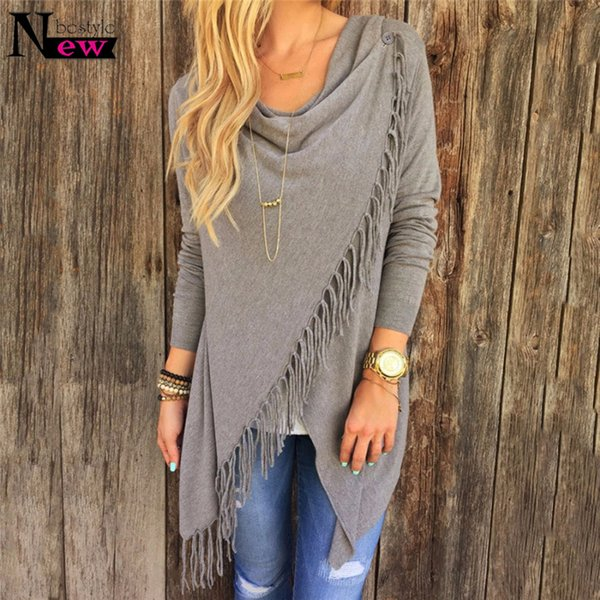 New Autumn Knitted Cardigans Tops Women Casual Loose Long Sleeve Irregular Hem Tassel Cardigan Cape Poncho Blouse Coat Outwear