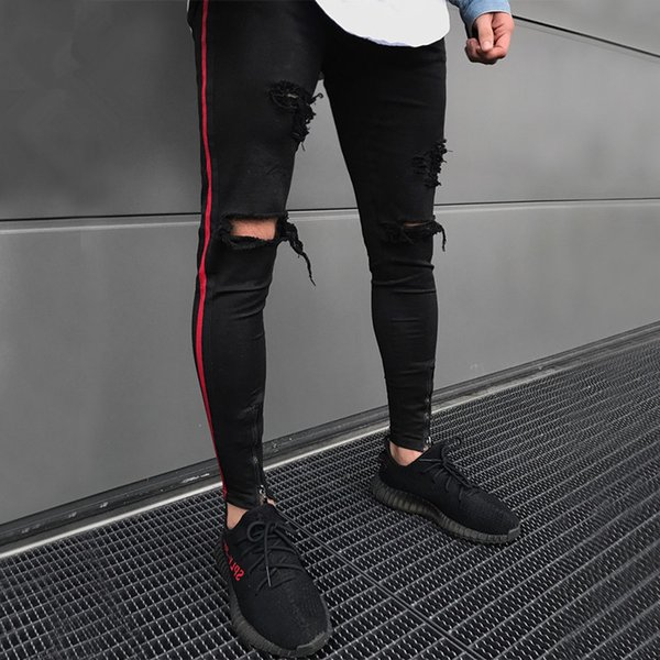 Men HIP HOP skinny motorcycle denim pants Ankle zipper designer black jeans mens pantalones vaqueros hombre Biker jeans men