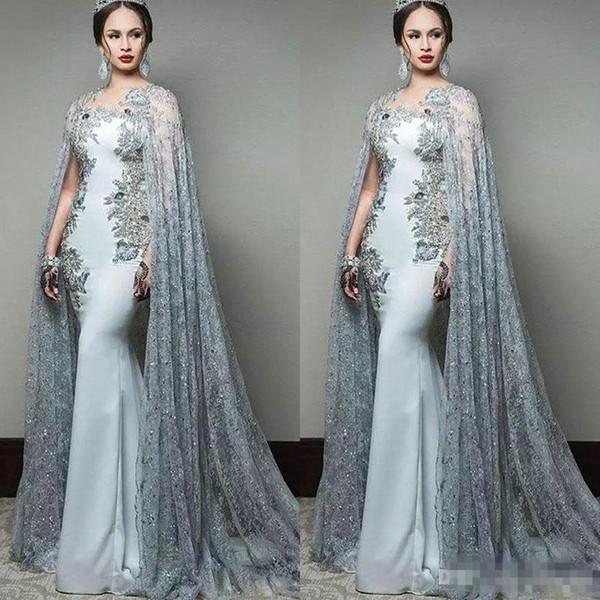 sweety_wedding / Mais novo 2018 abric sereia vestidos de baile com luva do cabo jóia do pescoço formal de desgaste da noite de lantejoulas trem da varredura vestido