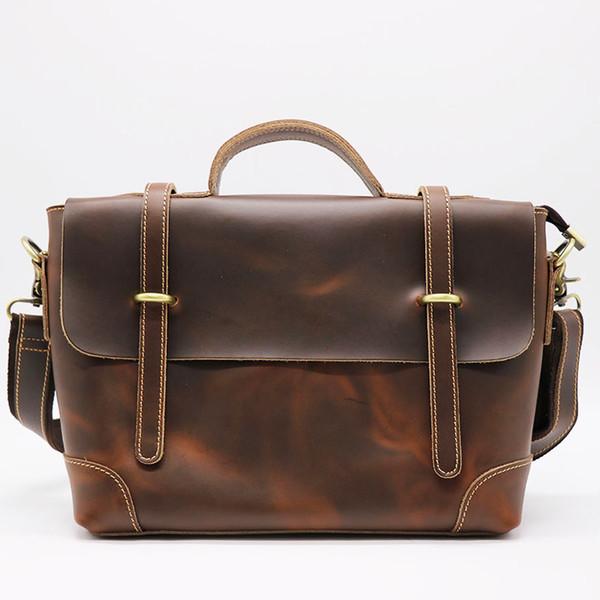 Brand Classic Genuine Crazy Horse Leather Business Briefcase Men's Handbag Male Cross Body Shoulder Handle Bag Messenger Bags