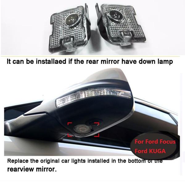 Nuevo estilo del coche 2pcs LED Side Under Mirror fantasma logotipo de la luz Para ford Kuga Focus reemplazo automático accesorios de la lámpara del accesorio del Rearview