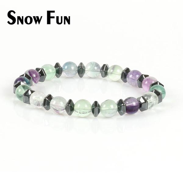 Snow Fun Charming 8mm Fluorit Stein Perlen Armband Schmuck mit Hämatit Spacer für Frauen