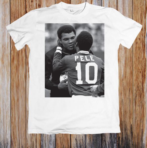 Pelé et Muhammed Ali rencontrent T-shirt Unisexe Casual drôle livraison gratuite Unisexe tee cadeau