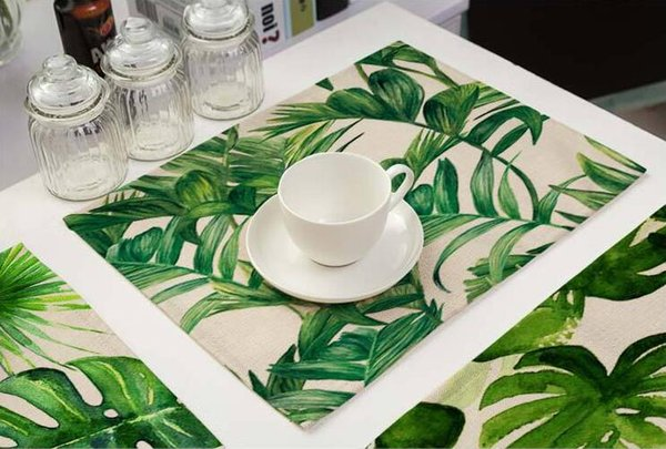 Green Leaves Placemat Green Plants Cotton Linen Pad Dining Table Mat Bowls Coasters Kitchen Accessories Free Shipping