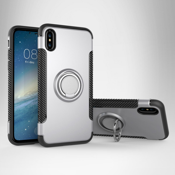 2018 Newest Finger ring brackets for Iphone 6 bumper case Adsorption stand case covers for Samsung S9 bumper phone case