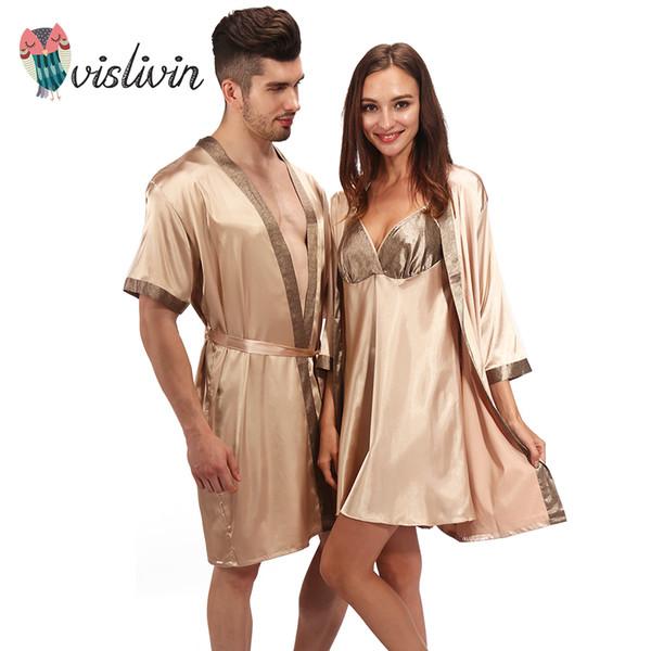 san francisco 21d00 62e23 Großhandel Vislivin Männer Frauen Pyjamas Nachtwäsche Sexy Nachtwäsche  Dessous Nachthemden Nachthemden Schlafkleid Gut Nachthemd Liebhaber Robe  Von ...