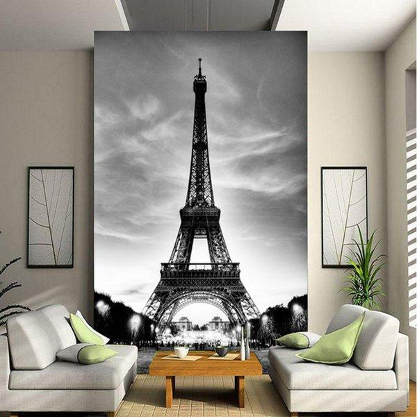 Benutzerdefinierte 3D Wandbild Fototapete Eiffelturm Paris Stadt Nostalgie  Graue Wand Kontakt Papier Für Wohnzimmer TV Sofa