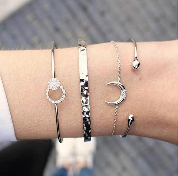 Gold Silver Crystal 4pcs/set Charm Bracelets & Bangles For Women Moon Love Metal Chain Bangle Boho  Jewelry Pulseras 2018