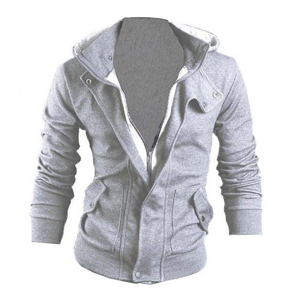 Gut aussehende Männer Hoodie Hooded Sweatshirt schwul männlich lässig dünner Mantel Langarm Zipper Tops M-3XL