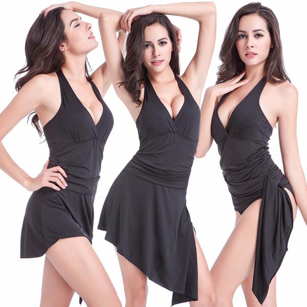 2017 Women Beachwear One Piece Swimsuit Skirt Halter Strappy Swimwear Summer Bathing Suits Ladies Swim Wear Long Beach Dress XL