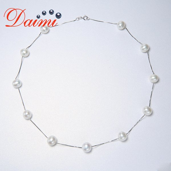 """DAIMI European Style Natural Big Pearl Necklace for Women Real Pearl Jewelry New Accessaries with 45cm/18"""" Silver Chain"""