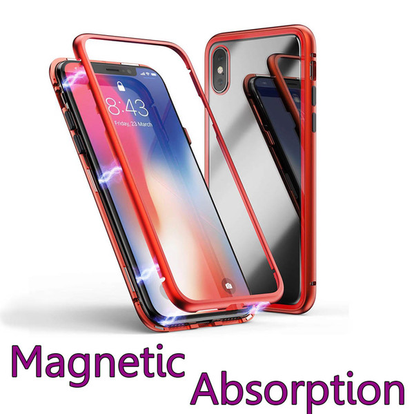 Aluminum Alloy Magnetic Adsorption Tempered Glass Back Panel Phone Cover Phone Case For iPhone X iPhone 8 7 6 PC Frame
