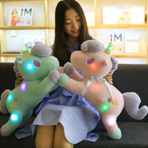 55cm Cute Light Colorful Unicorn Plush Toy Staffed Luminous Pillow Home Furnishing Decoration Valentine's Gift for Girls