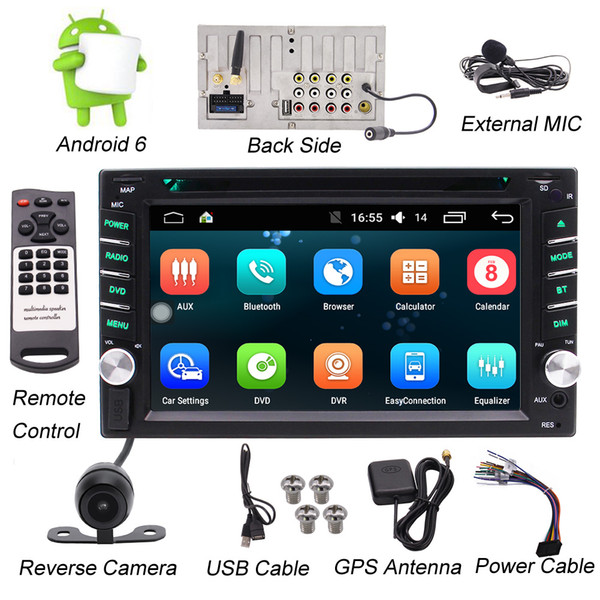 """Double DIN Android Stereo Receiver In Dash Car Head Unit car DVD Player & Rearview Backup Camera 6.2"""" Touchscreen Wi-Fi Web Browsing App"""