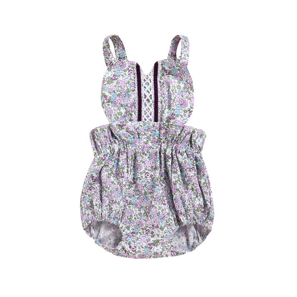 Mikrdoo Toddler Baby Girls Cute Romper Clothes Sleeveless Strapped Floral Lace Jumpsuit Newborn Infant Lovely Sundress