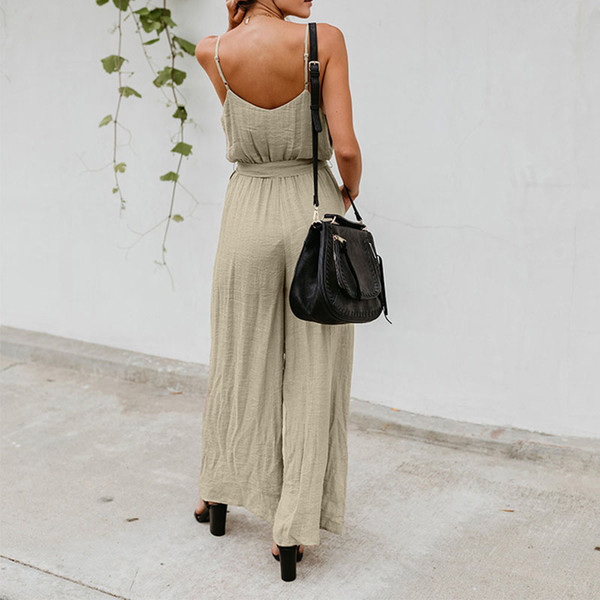 2018 Summer Elegant Jumpsuit Woman High Waist Pants Sexy V-neck Playsuit Spaghetti Straps Bow Wide Leg Trousers Ladies Overalls