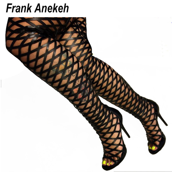 Бедро высокие сандалии Гладиатор сапоги женщины сексуальный Пип Toe сетчатый вырез над коленом Гладиатор сапоги на высоком каблуке сандалии черный