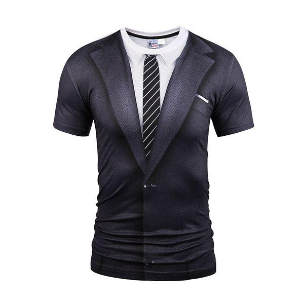 Hot New Style Casual Men 3D Tie Printing T Shirt Short Sleeve Tattoo Black Suit Digital Printing Summer Tops