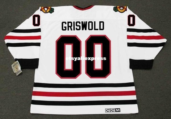 Personalizado Mens CLARK GRISWOLD Férias de Natal Chicago Blackhawks CCM Jerseys Retro Vintage Hockey Jersey