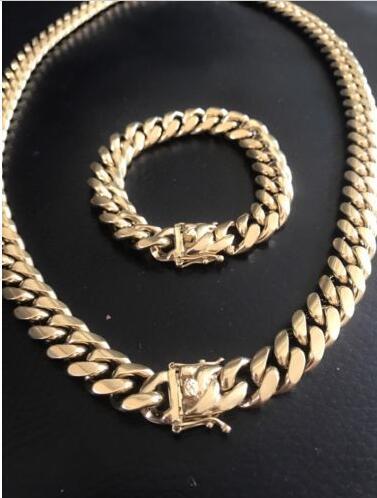 HARLEMBLING 14mm Men Miami Cuban Link Bracelet & Chain Set 14k Gold Plated