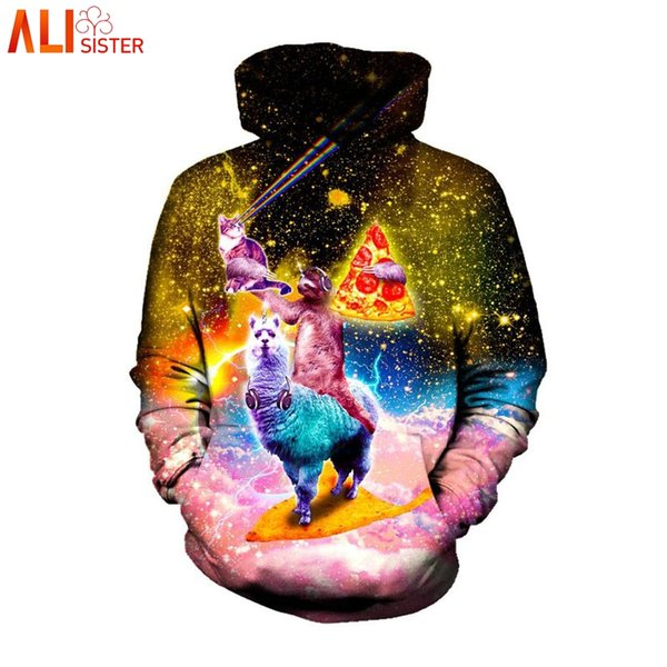 Alisister Plus Size Mens Hoodie 3d Sloth Pizza Print Galaxy Space Sweatshirt Men Women Funny Tracksuit Casual Pullover Tops