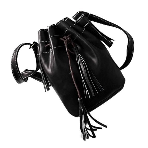 Women bag Tassel fashion bucket bag pu leather patchwork women shoulder messenger handbag black