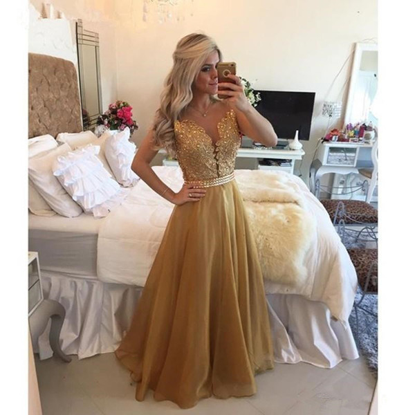 Luxury Rhinestone Gold Prom Dresses 2019 Hot Selling New Floor Length Lace Chiffon Backless Tulle Sheer Formal Evening Party Gowns P009