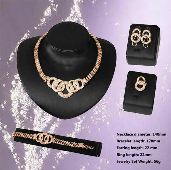 Hot plating 18K gold crystal Jewelry Sets Silver Snake Chain Bracelets Necklace Rings Earrings 12set/lot For women Wedding jewellery Sets