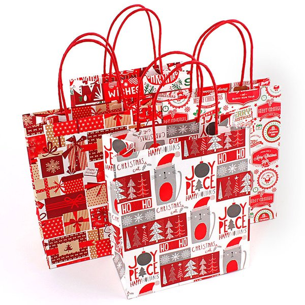 25pcs/lot christmas kraft paper gift bag with handle/shopping bags/Christmas brown packing bag/Excellent quality