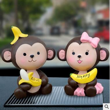 Creative car decoration cute monkey car jewelry safe high-end car decoration doll fashion exquisite gift ornaments