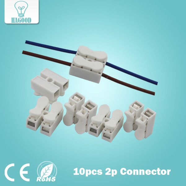 10pcs 2p Spring Connector wire with no welding no screws Connector cable clamp Terminal Block 2 Way Easy Fit for led strip