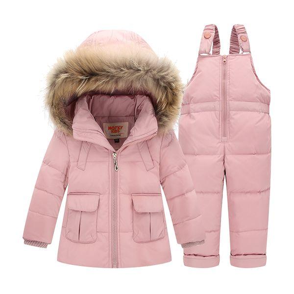 Ternos de inverno para Meninos Meninas 2017 Meninos Terno de Esqui Crianças Roupas Set Bebê Duck Down Casaco Jaqueta + Macacões Quentes Crianças Snowsuit