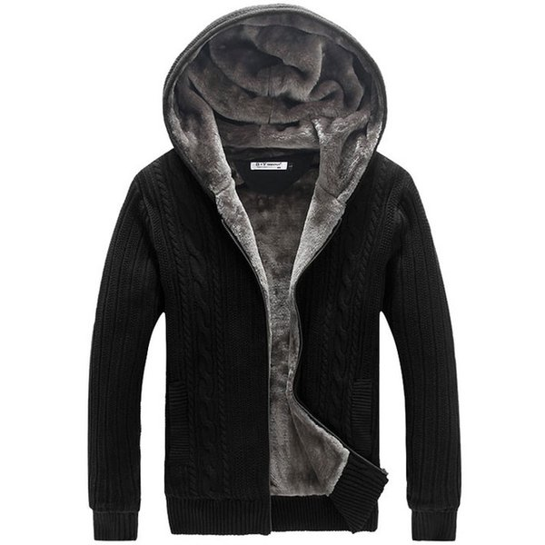 Kış Sıcak Kalın Erkek Kazak Rahat Faux Kürk Astar Örme Kazak ceket Erkekler Tasarımcı Kapşonlu Hırka Büyük boyutu 5XL