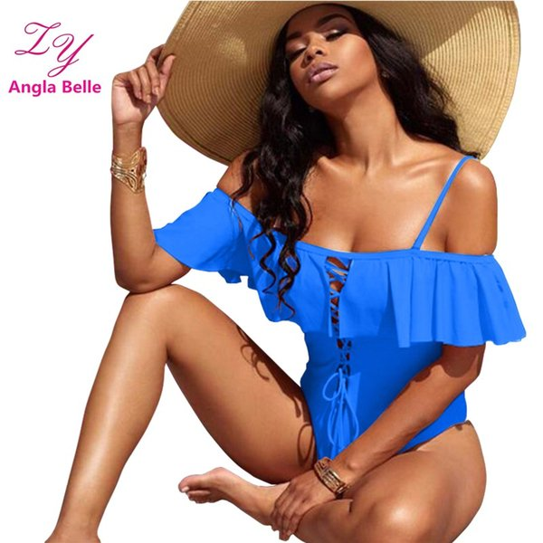 One Piece Swimsuit Women Swimwear Ruffle Bandage Swimsuit Women Sexy Low Cut Monokini Swimming Suit Beachwear Bathing Suit
