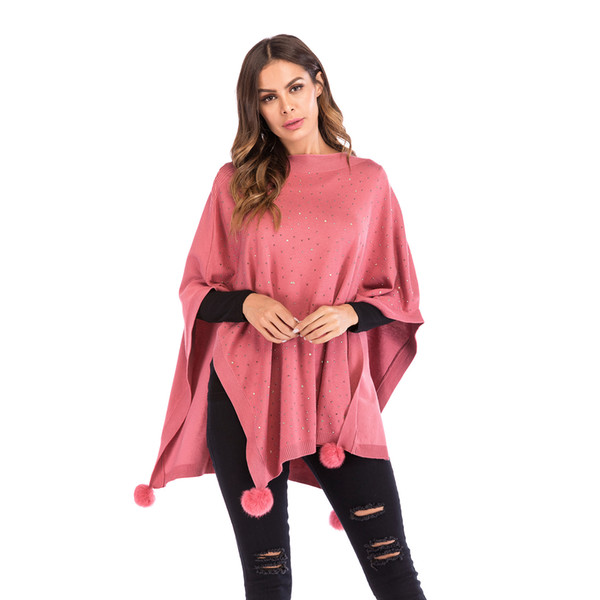 Alinfu Womens Casual Unbalanced Crew Neck Knit Sweater Loose Pullover Cardigan Shawl cloak