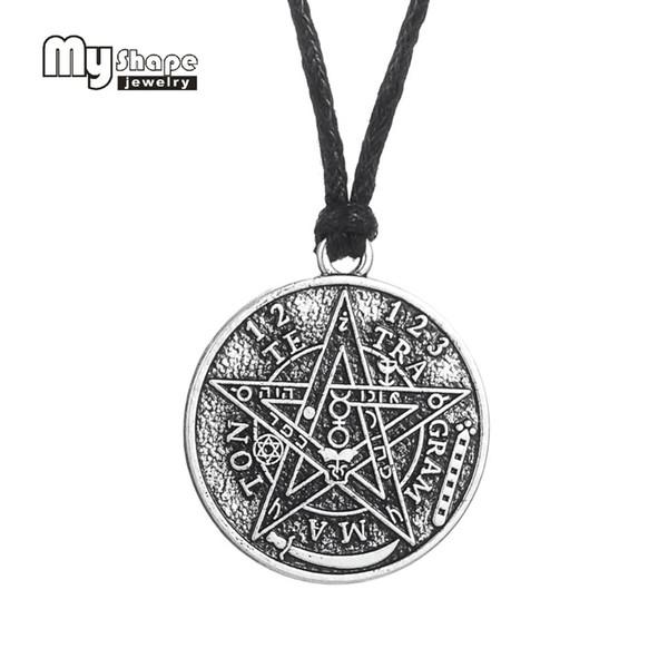 my shape Antique Tetragrammaton Pentacle Pentagram Pendant Charm Necklace Wiccan Talisman Pagen Amulet Jewelry Wholesale
