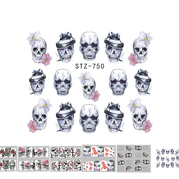 New Arrival Halloween Nail Art Sticker Retro Style Nail Decoration Wraps Tatoos Manicure Flower Ghost Skull Decal