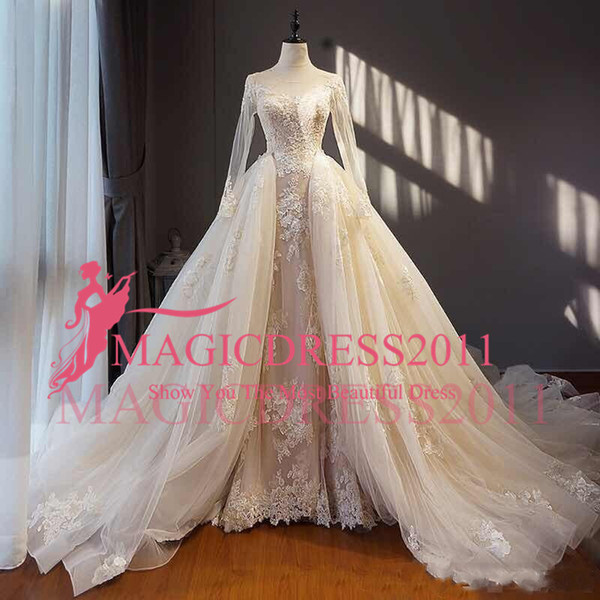 Modest Zuhair Murad Wedding Dresses With Detachable Skirt Sheer Long Sleeves Lace Bridal Gowns Real Image Corset Back Wedding Dresses